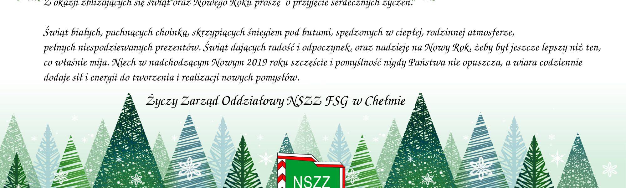 Życzenia z okazji Święta Bożego Narodzenia oraz Nowego Roku