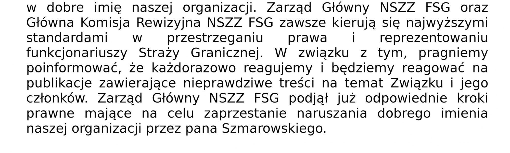 Oświadczenie Przewodniczącego ZG NSZZ FSG i GKR NSZZ FSG
